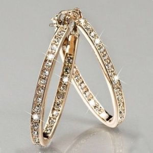 14K Yellow Gold 925 SILVER HOOP EARRINGS